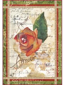 """Рисовая бумага для декупажа Stamperia DFSA4038 """"Розы и поэзия"""", формат А4"""