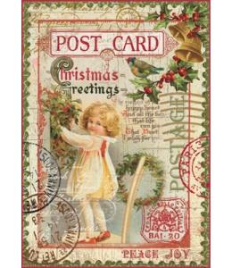 """Рисовая бумага для декупажа Stamperia DFSA4044 """"Рождественская открытка"""", формат А4"""