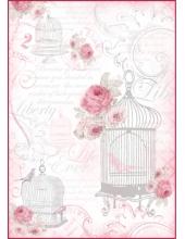 """Рисовая бумага для декупажа Stamperia DFSA4061 """"Клетка для птиц  и розы"""", формат А4"""