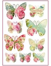 """Рисовая бумага для декупажа Stamperia DFSA4069 """"Цветы и бабочки"""", формат А4"""