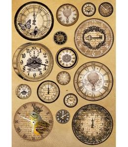 "Рисовая бумага для декупажа Stamperia DFSA4093 ""Старинные часы"", формат А4"
