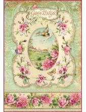 "Рисовая бумага для декупажа Stamperia DFSA4095 ""Рамочка с розами"", формат А4"