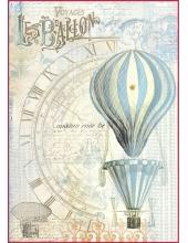 """Рисовая бумага для декупажа Stamperia DFSA4114 """"Воздушный шар, голубой"""", формат А4"""