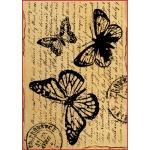 """Рисовая бумага для декупажа Stamperia DFSA4120 """"Бабочки и старинное письмо"""", формат А4"""