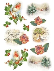 """Рисовая бумага для декупажа Stamperia DFSA4147 """"Зимние пейзажи, птицы и розы"""", формат А4"""