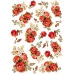 """Рисовая бумага для декупажа Stamperia DFSA4154 """"Красные розы"""", формат А4"""