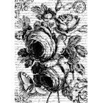 "Рисовая бумага для декупажа Stamperia DFSA4167 ""Роза и текст"", формат А4"