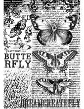 "Рисовая бумага для декупажа Stamperia DFSA4168 ""Бабочки на фоне текста"", формат А4"