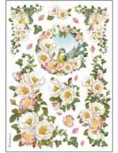 """Рисовая бумага для декупажа Stamperia DFSA4177 """"Белые цветы и птицы"""", формат А4"""