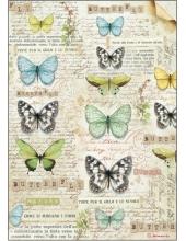 "Рисовая бумага для декупажа Stamperia DFSA4178 ""Бабочки и текст"", формат А4"