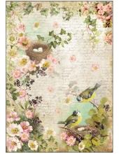 """Рисовая бумага для декупажа Stamperia DFSA4179 """"Птичьи гнезда"""", формат А4"""
