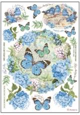 """Рисовая бумага для декупажа Stamperia DFSA4183 """"Гортензии и бабочки"""", формат А4"""