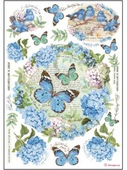 Рисовая бумага для декупажа Гортензии и бабочки, Stamperia DFSA4183, формат А4