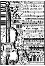 """Рисовая бумага для декупажа Stamperia DFSA4188 """"Ноты и виолончель"""", формат А4"""
