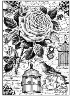 Рисовая бумага для декупажа Роза, птица и клетка, Stamperia DFSA4195, формат А4