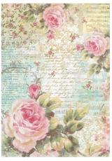 """Рисовая бумага для декупажа Stamperia DFSA4204 """"Розы и надписи"""", формат А4"""