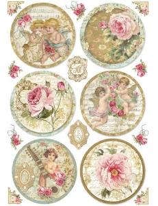 """Рисовая бумага для декупажа Stamperia DFSA4206 """"Розы и ангелы, шары"""", формат А4"""