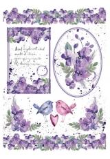 """Рисовая бумага для декупажа Stamperia DFSA4216 """"Акварелельные орхидеи и птицы"""", формат А4"""