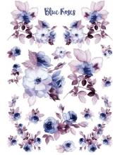 """Рисовая бумага для декупажа Stamperia DFSA4217 """"Голубые розы"""", формат А4"""
