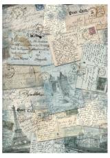 """Рисовая бумага для декупажа Stamperia DFSA4219 """"Открытки и письма"""", формат А4"""