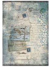 """Рисовая бумага для декупажа Stamperia DFSA4220 """"Почтовые карточки и кружево"""", формат А4"""
