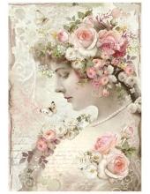 """Рисовая бумага для декупажа Stamperia DFSA4224 """"Женщина с розами"""", формат А4"""