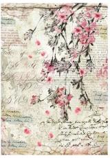"""Рисовая бумага для декупажа Stamperia DFSA4228 """"Цветы персика и надписи"""", формат А4"""