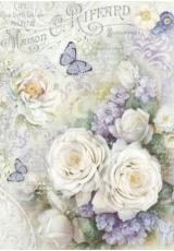 """Рисовая бумага для декупажа Stamperia DFSA4229 """"Белые розы и лиловые бабочки"""", формат А4"""