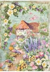 """Рисовая бумага для декупажа Stamperia DFSA4233 """"Домик в цветущем саду"""", формат А4"""