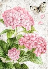 """Рисовая бумага для декупажа Stamperia DFSA4236 """"Розовая гортензия и бабочка"""", формат А4"""