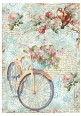 """Рисовая бумага для декупажа Stamperia DFSA4238 """"Велосипед с корзиной цветов"""", формат А4"""