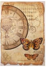 "Рисовая бумага для декупажа Stamperia DFSA4241 ""Часы и бабочки"", формат А4"