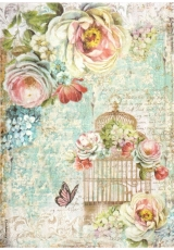 """Рисовая бумага для декупажа Stamperia DFSA4244 """"Птичья клетка и цветы"""", формат А4"""