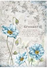 """Рисовая бумага для декупажа Stamperia DFSA4249 """"Синие цветы"""", формат А4"""