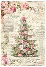"""Рисовая бумага для декупажа Stamperia DFSA4250 """"Новогодняя ёлка и розы"""", формат А4"""