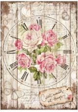 "Рисовая бумага для декупажа Stamperia DFSA4255 ""Часы с розами"", формат А4"