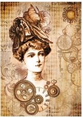 """Рисовая бумага для декупажа Stamperia DFSA4268 """"Стимпанк женщина в шляпе"""", формат А4"""