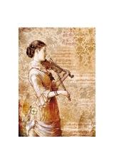 """Рисовая бумага для декупажа Stamperia DFSA4269 """"Женщина со скрипкой"""", формат А4"""
