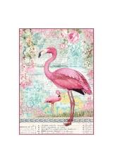 "Рисовая бумага для декупажа Stamperia DFSA4273 ""Розовый фламинго"", формат А4"