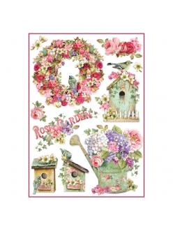 Рисовая бумага для декупажа Сад с розами, Stamperia формат А4