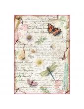 """Рисовая бумага для декупажа Stamperia DFSA4285 """"Стрекозы, бабочки и старый текст"""", формат А4"""