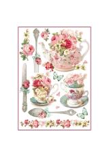 """Рисовая бумага для декупажа Stamperia DFSA4295 """"Чайник и чашки с цветами"""", формат А4"""