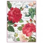 """Рисовая бумага для декупажа Stamperia DFSA4305 """"Красные розы и музыка"""", формат А4"""