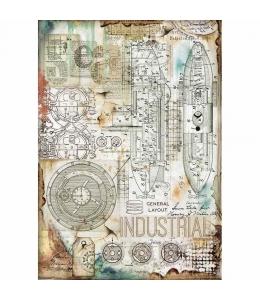 "Рисовая бумага для декупажа Stamperia DFSA4433 ""Industrial"", формат А4"