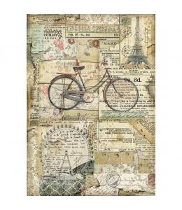 """Рисовая бумага для декупажа Stamperia DFSA4458 """"Велосипед"""", формат А4"""
