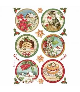 """Рисовая бумага для декупажа Stamperia DFSA4477 """"Рождественские сферы"""", формат А4"""