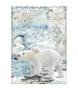 "Рисовая бумага для декупажа Stamperia DFSA4478 ""Белые медведи"", формат А4"