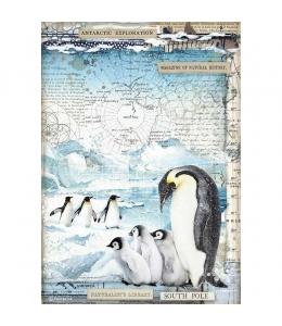 """Рисовая бумага для декупажа Stamperia DFSA4479 """"Пингвины"""", формат А4"""