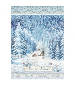 "Рисовая бумага для декупажа Stamperia DFSA4491 "" Зимняя деревушка"", формат А4"