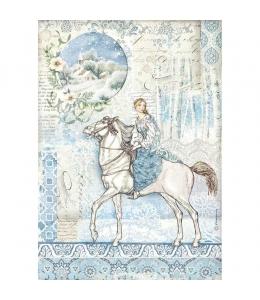 "Рисовая бумага для декупажа Stamperia DFSA4492 ""Девушка на коне"", формат А4"